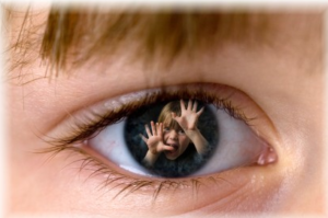 Eye with what a child sees in trauma