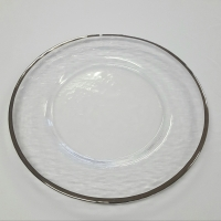 Silver Rimmed Glass Charger