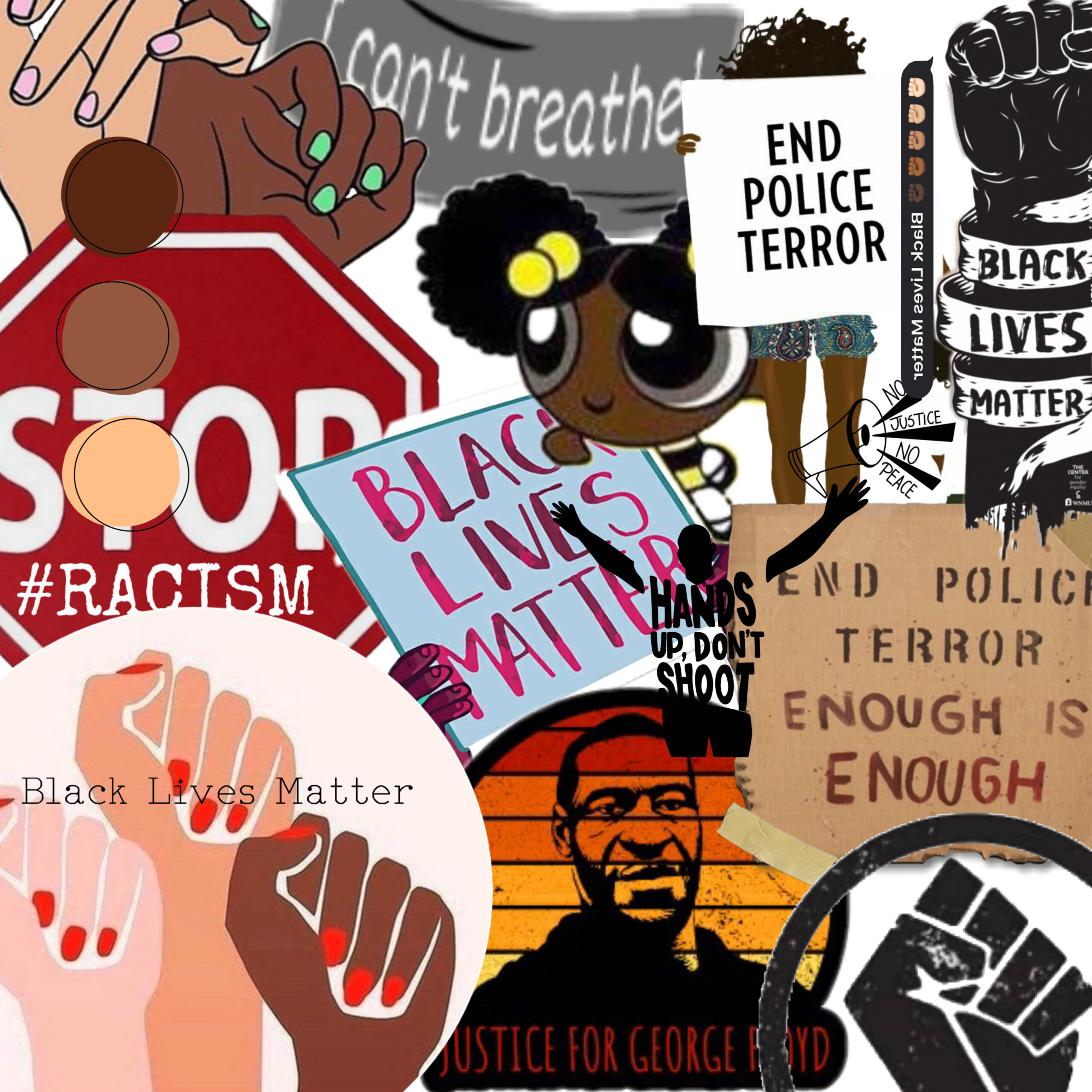It's supposed to represent an overwhelming feeling of all the racism occurring. By making a collage of pieces that are typically not arranged and neat but still portray the message, it shows how impactful it is all together.