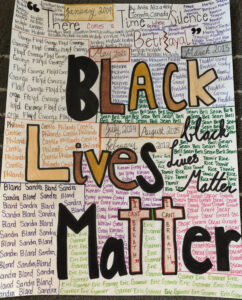 My art is generally to support BLM and really just racial equality in society that's why I used different skin toned colours. On the top there is a quote from Martin Luther King. In the background there are names of black people who were innocent but killed by the police over the past decade or so and the month and the years which they died is written somewhere on the drawing. This drawing means a lot to me and it's very powerful for me.