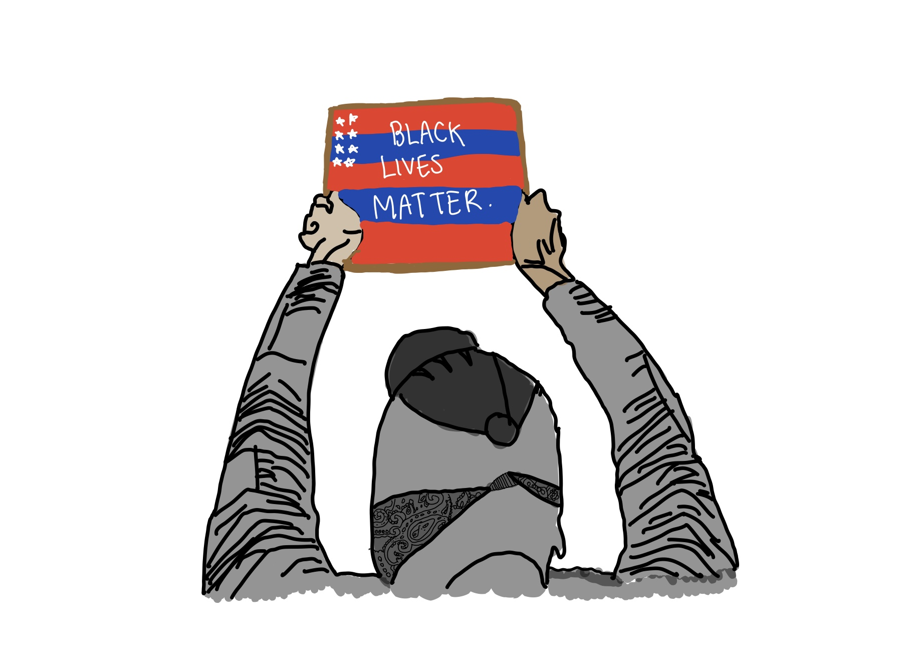 """This shows the people of the black community protesting for black lives matter. By illustrating an American flag on the poster saying """"black lives matter"""" it describes that America should be united and treat everyone equally."""