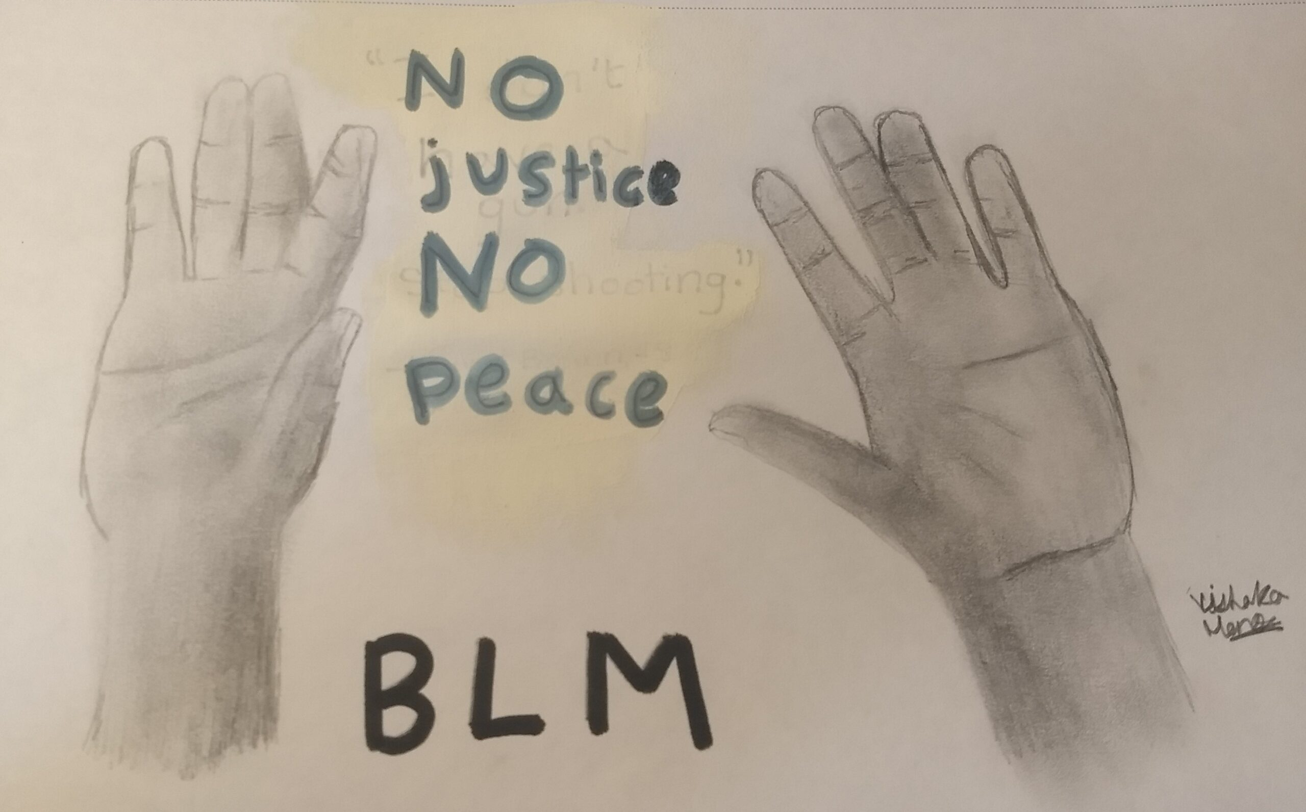The hands signify the victims of police brutality who put their hands up in an effort to prove their innocence. The words in between the hands is the common slogan associated with the BLM movement.