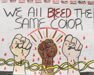 """""""We all bleed the same color"""" refers to the fact that we are all equal, even if we look different because we are all human, and made up of the same substances. The chains that are locked around the wrists demonstrates the fact that we are all in this together, side by side. The """"blood drops"""" symbolize the prejudice, violence and injustice faced, especially by the Black community. Lastly, the closed fists symbolize solidarity and support for this movement."""