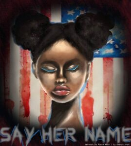 """During this iconic moment in history, I decided to make a piece of art which reiterates and embodies a quote by Malcolm X which seems incredibly relevant today: """"""""The most disrespected person in America is the black woman. The most unprotected person in America is the black woman. The most neglected person in America is the Black woman."""" During a time in which Breonna Taylor and many other women have lost their innocent lives at the hands of corruption, this quote resurrects its relevancy now that the public has grown consciously aware of these horrific acts of violence against innocent, pure souls. I wanted my painting to also act as a test to public consciousness in correlation to this quote."""