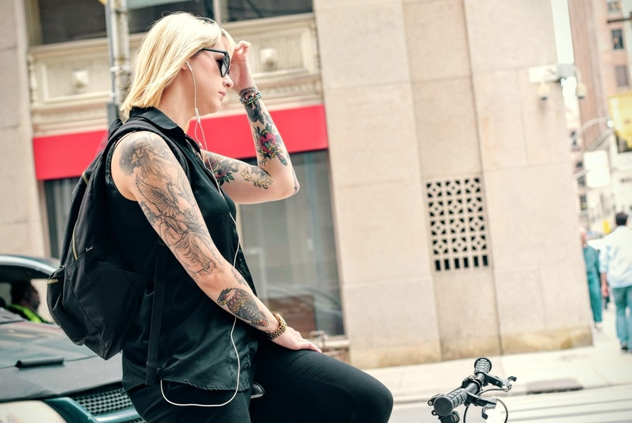 TATTOO Woman on Bike