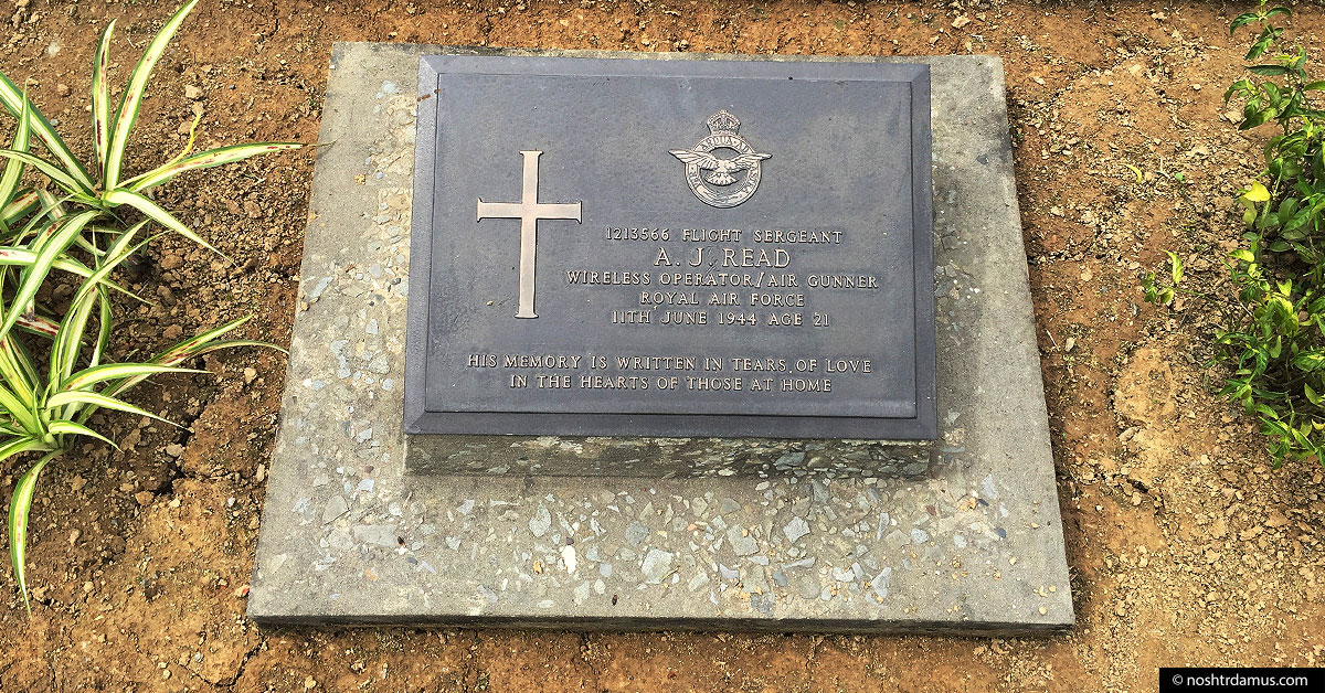 Kohima War Cemetary - Tombstone of Flt Sgt A J Read of the Royal Airforce