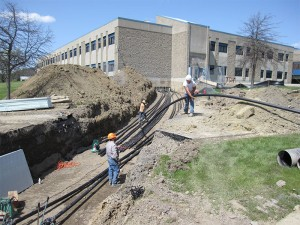 Fusing pipe from the building to the loop field