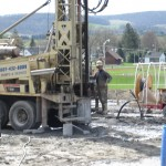 Vertical bore hole being drilled for Geothermal