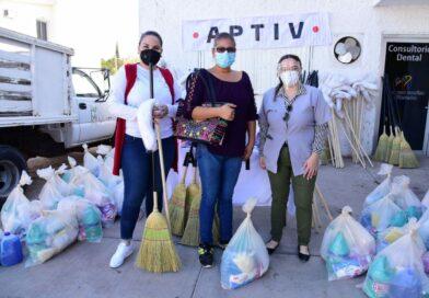 DIF y empresa Aptiv entregan kit de limpieza a familias alvaradenses