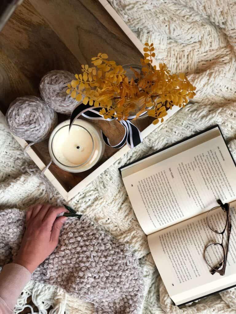 cozy knitting with velvet yarn.