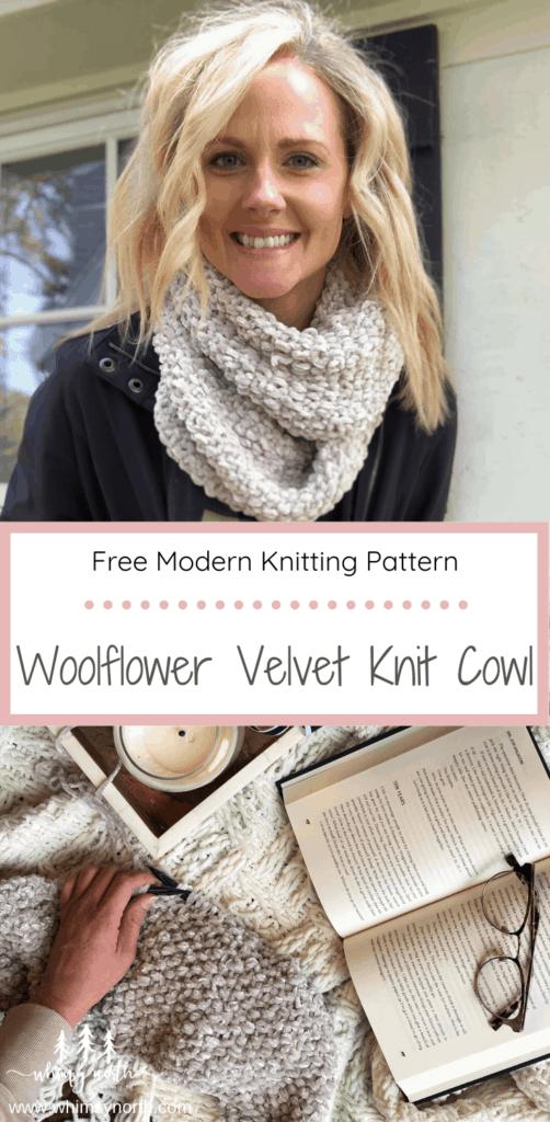 Pinterest - Woolflower Velvet Knit Cowl Free Knitting Pattern