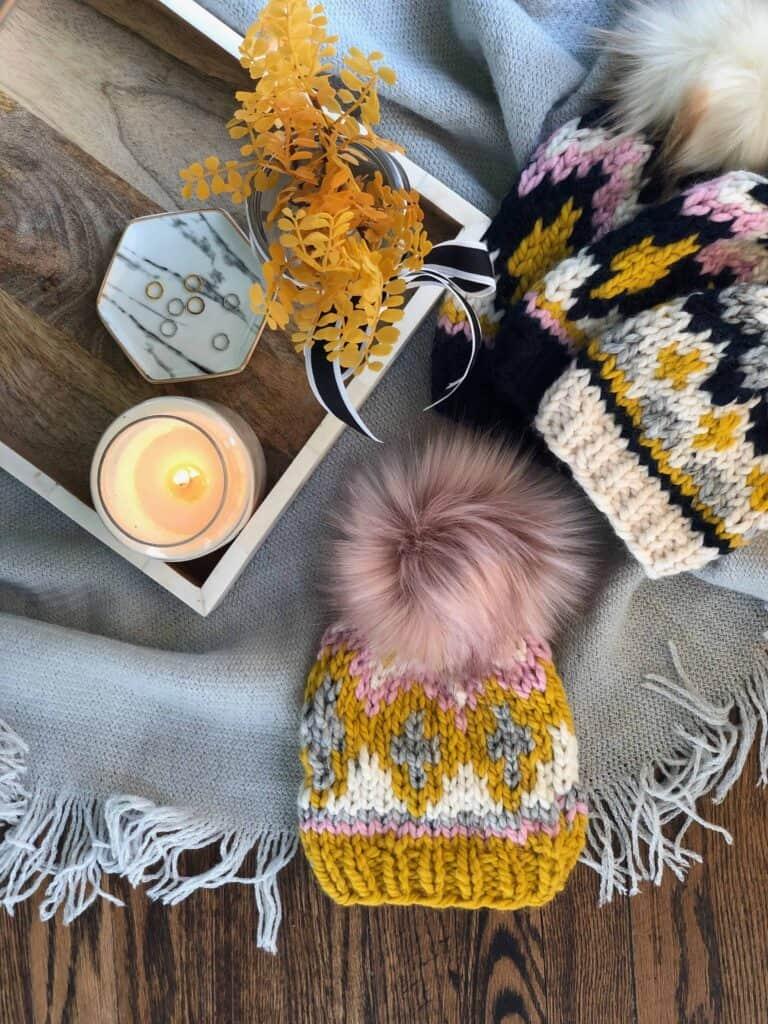 Glimmer Beanie Fair Isle Knitting Pattern