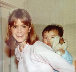 Jason on my back, the day after he arrived from Korea in January, 1985. He was 2 years and 9 months old.