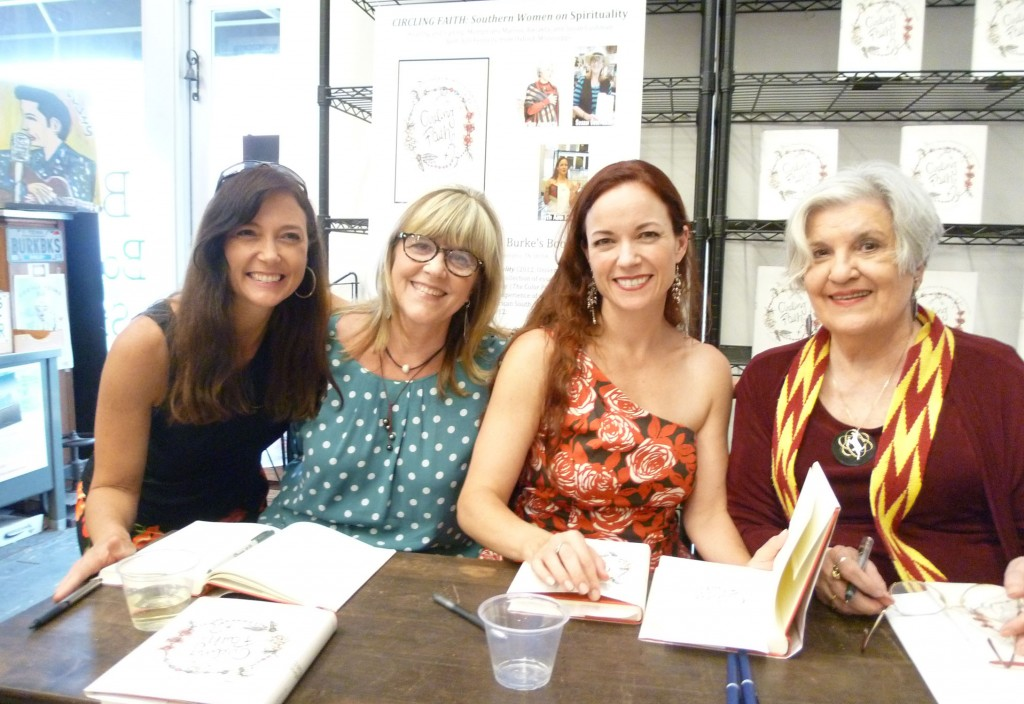 """Signing """"Circling Faith"""" with Wendy Reed, Beth Ann Fennelly and Marilou Awiakta at Burke's Books, July 2012"""