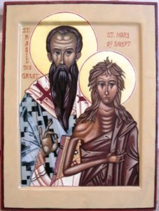 """Original icon from which detail of Mary was cropped. This is Saint Basil and Great and Saint Mary of Egypt, a """"marriage icon"""" I wrote as a gift to my husband, Father Basil."""
