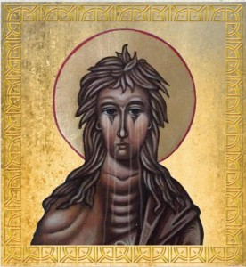 """""""Weeping"""" icon of Saint Mary of Egypt, similar to the one Mare encountered at the monastery."""