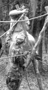 Tying the Handropes to theA-frames with Clove Hitches