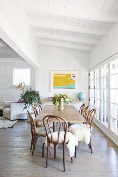 How To Decorate With Sheepskin Rug - Pad Dining Chairs