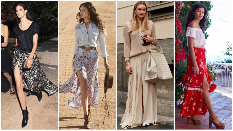 Maxi Skirt with Slit Outfits ideas