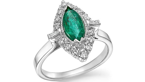 Bloomingdale's Emerald Marquise & Diamond Statement Ring in 14k White Gold