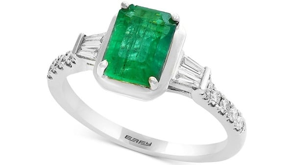 Gemstone Bridal by Effy Emerald and Diamond Engagement Ring in 18k White Gold