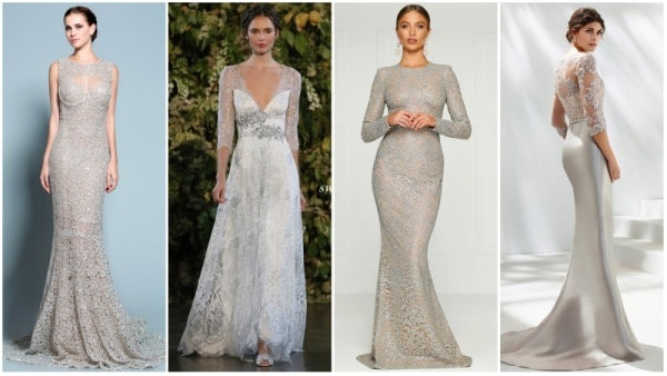 Silver Lace Wedding Dresses