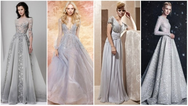 Silver Wedding Dresses with Sleeves