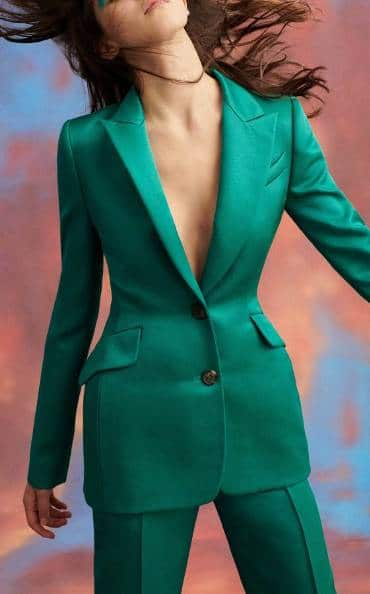 Carolina Herrera Single Breasted Fitted Satin Blazer