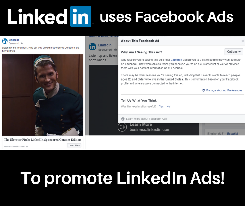 Example of LinkedIn using B2B Facebook Ads to promote LinkedIn's advertising platform. They used a custom audience for targeting.