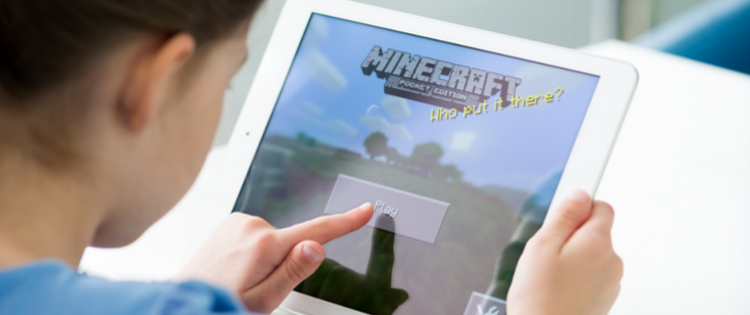 Child playing Minecraft