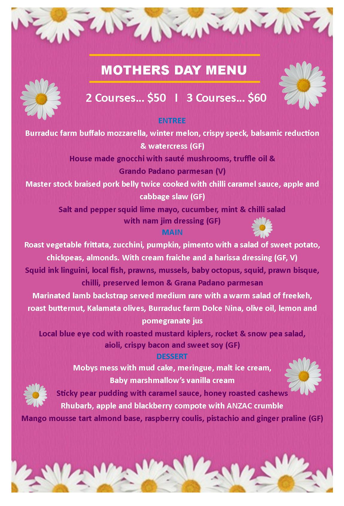 2017 Mothers Day Menu