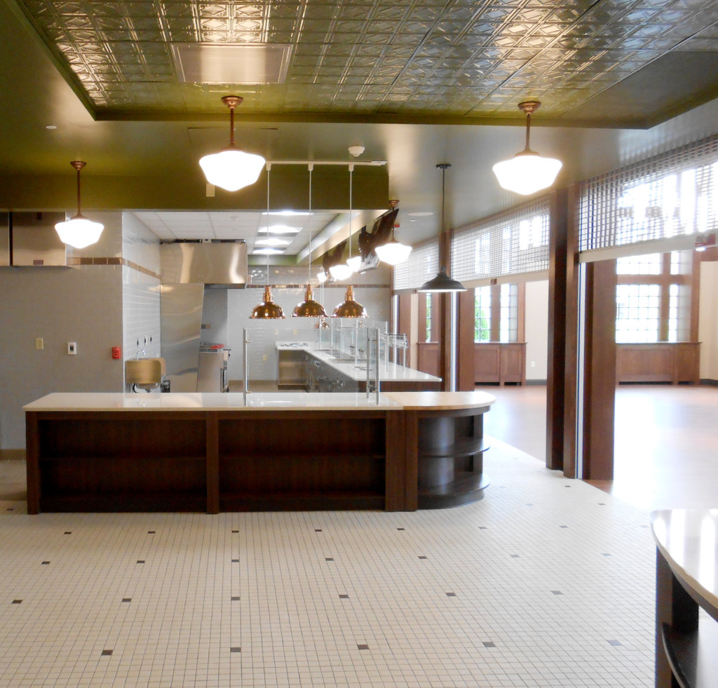 The kitchen area of the MacDonald Student Commons.