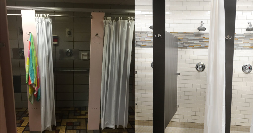 Zartman Construction renovated the showers at the GSV YMCA.