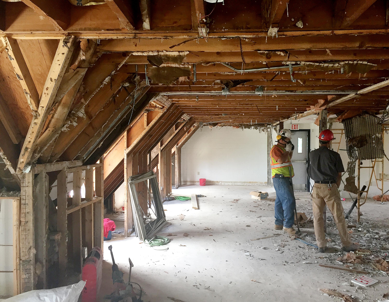 Demolition in progress at Hildreth-Mirza Hall at Bucknell University.