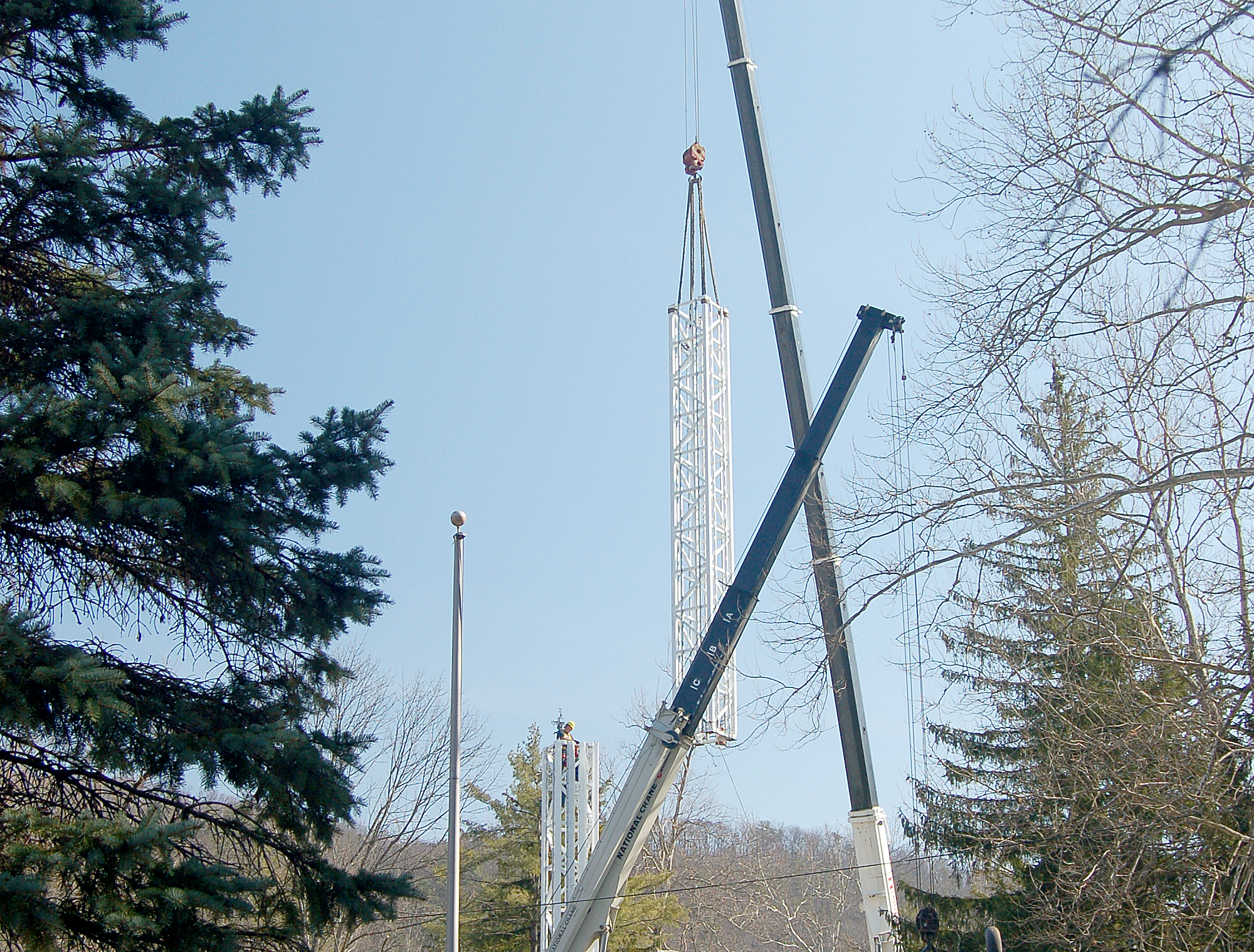 Part of the Stratos Fear is lifted into place at Knoebels Amusement Resort.