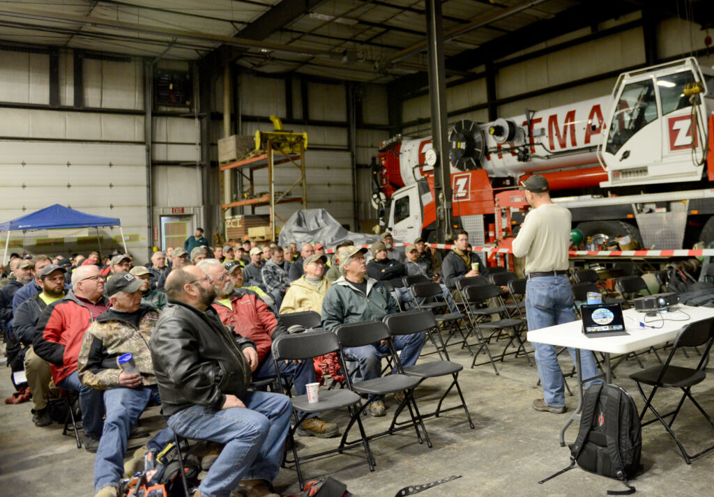Craig Shaffer discussed acceptable risk and taking chances in the construction field during Zartman Construction's annual employee safety training.