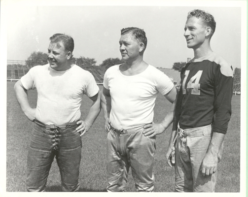 Red Smith with Curly Lambeau and Don Hutson