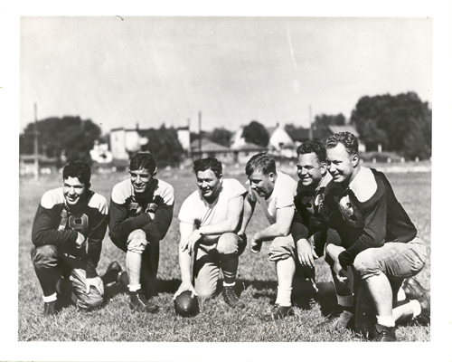 Red Smith with Curly Lambeau at the 1937 Green Bay Packers training camp