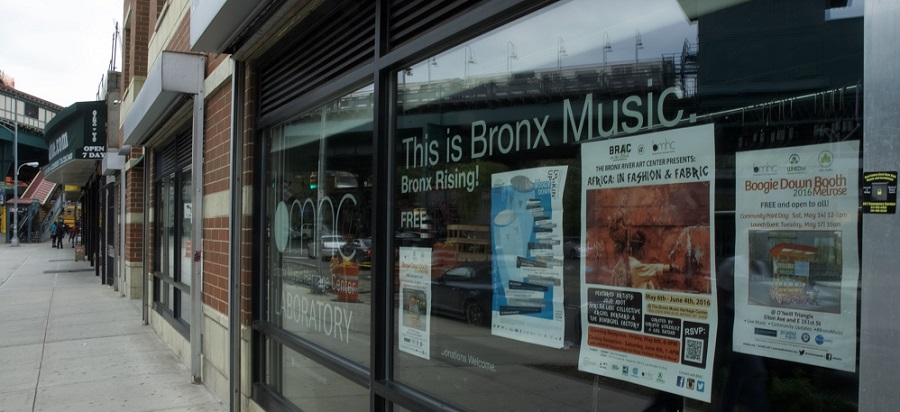 Window display at Bronx Music Heritage Center Lab