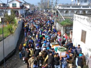Tearful adieu to Pulwama Martyrs