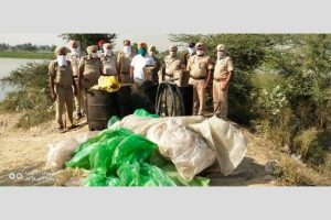 Joint Excise and Police teams destroyed 46,000 ltrs 'lahan' on the spot