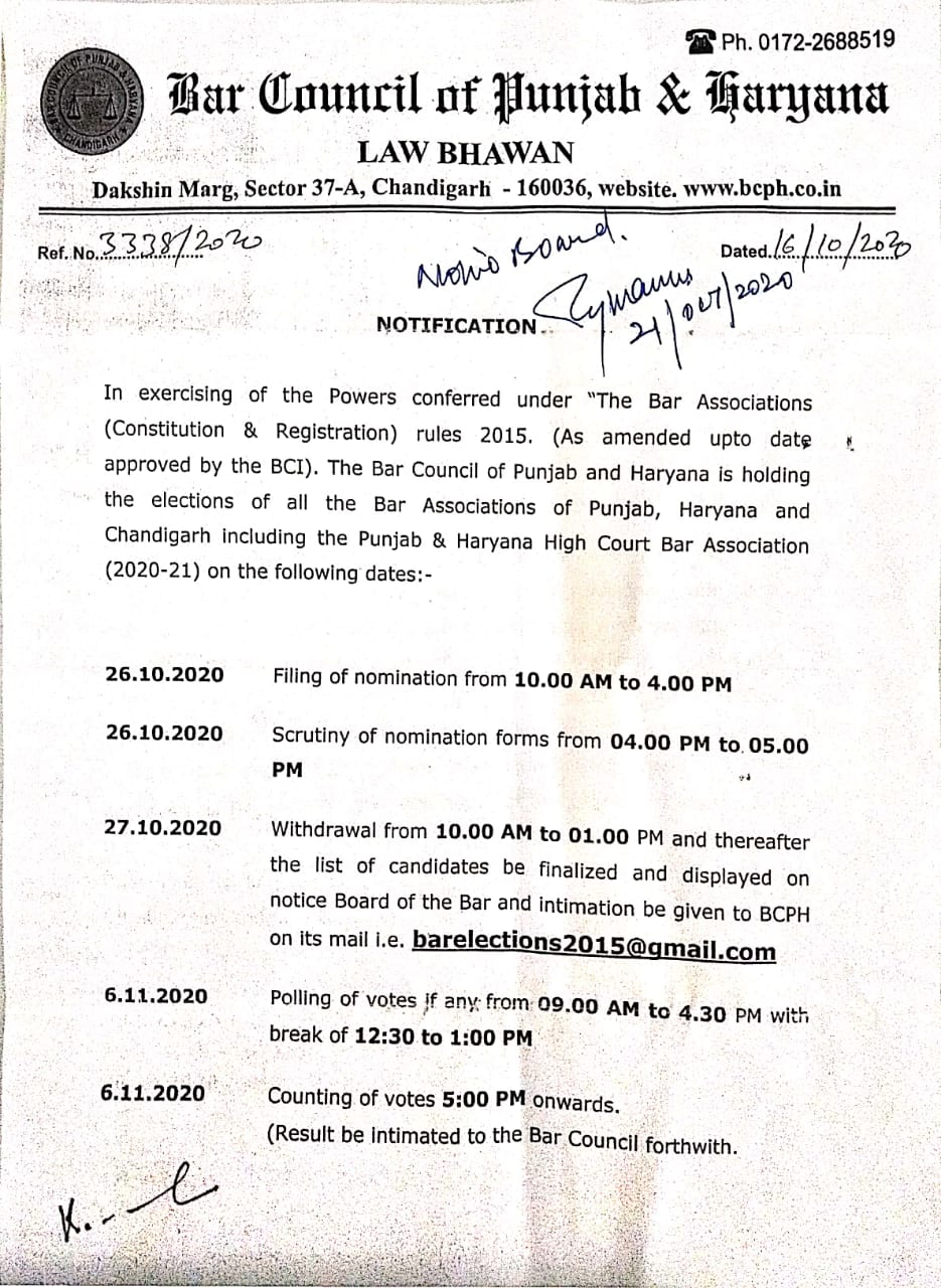 Bar Council of Punjab and Haryana decides to hold all Bar Elections from Oct 26