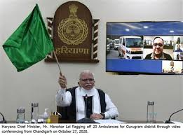 Haryana Chief Minister flagges off 20 new ambulances