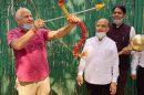 Dy C M celebrates Dussehra with symbolic destruction of Ravana effigy