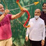 Dy C M  celebrates Dussehra with symbolic destruction of Ravana effigy