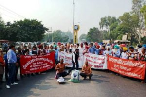 Half-naked protest rally by  Punjab UT Employees and Pensioners Joint Front