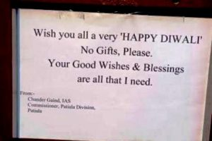 Divisional Commissioner Patiala seeks blessings on Diwali, says no to gifts