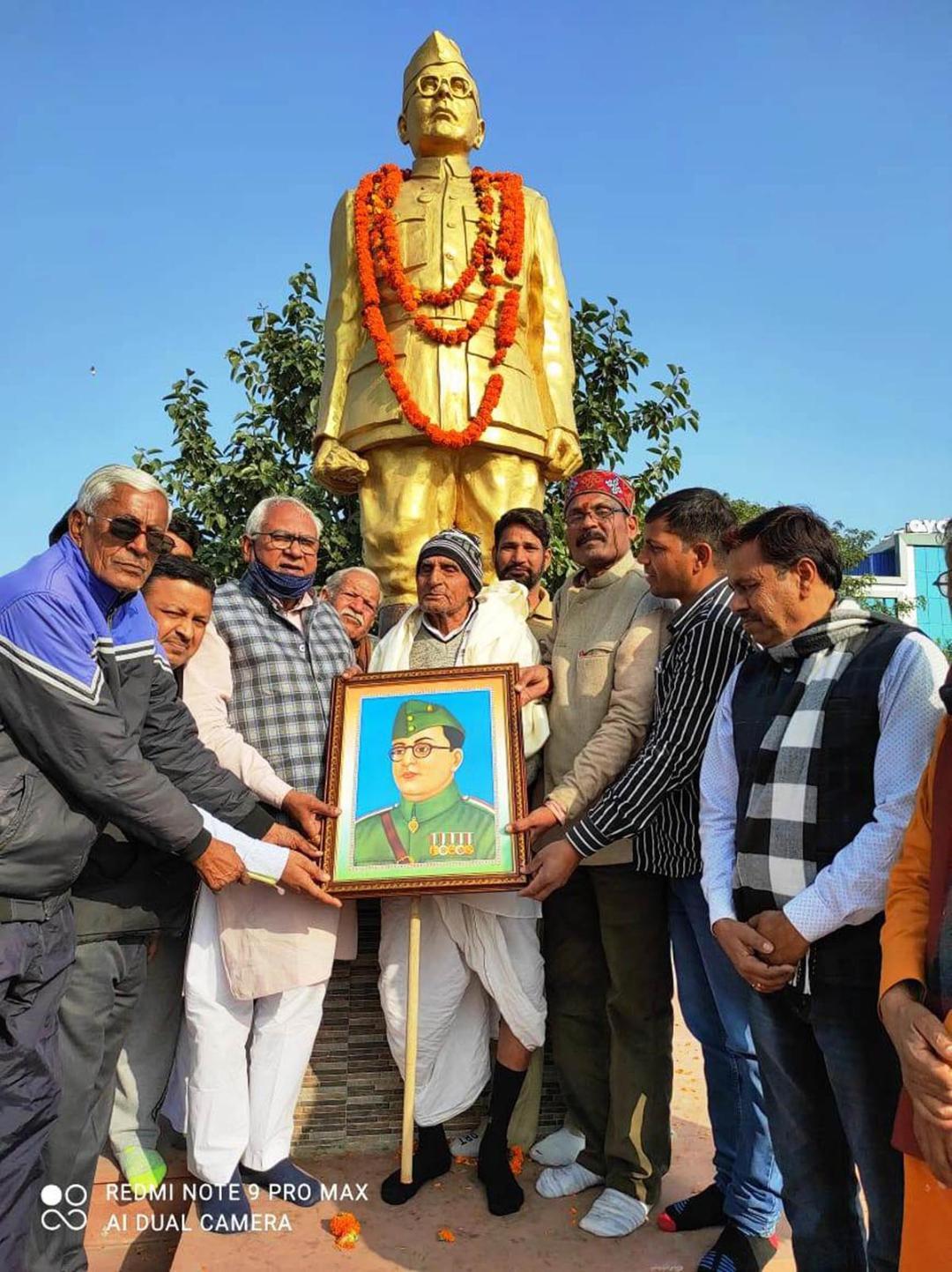 आजाद हिंद फौज के सैनिक हीरासिंह आजाद को पराक्रम दिवस पर किया सम्मानित