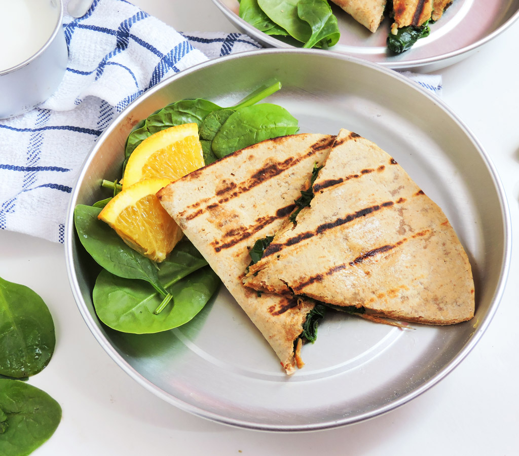 Cheesy Whole Wheat Spinach Quesadillas