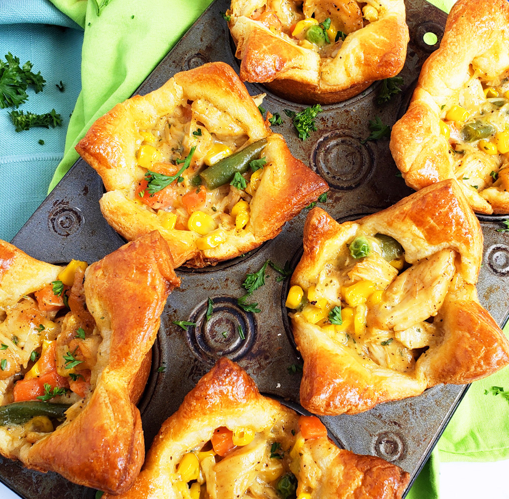 5-Ingredient Mini Chicken Ranch Pot Pies made with Pillsbury crescent dough in muffin tins